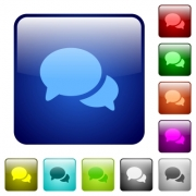 Discussion icons in rounded square color glossy button set - Discussion color square buttons