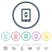 Mobile adjust settings flat color icons in round outlines. 6 bonus icons included. - Mobile adjust settings flat color icons in round outlines