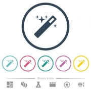 Magic wand flat color icons in round outlines. 6 bonus icons included. - Magic wand flat color icons in round outlines
