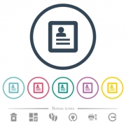 Contacts flat color icons in round outlines. 6 bonus icons included. - Contacts flat color icons in round outlines