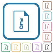 Compressed document simple icons in color rounded square frames on white background - Compressed document simple icons