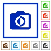 Monochrome photos flat color icons in square frames on white background - Monochrome photos flat framed icons