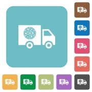 Pizza delivery truck white flat icons on color rounded square backgrounds - Pizza delivery truck rounded square flat icons