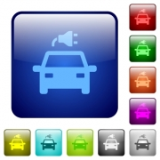 Electric car with connector icons in rounded square color glossy button set - Electric car with connector color square buttons