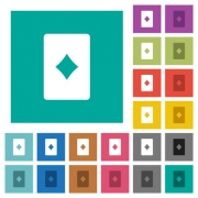 Diamond card symbol multi colored flat icons on plain square backgrounds. Included white and darker icon variations for hover or active effects. - Diamond card symbol square flat multi colored icons