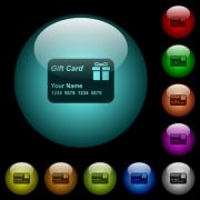Gift card with name and numbers icons in color illuminated spherical glass buttons on black background. Can be used to black or dark templates