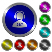 24 hours operator service icons on round luminous coin-like color steel buttons - 24 hours operator service luminous coin-like round color buttons