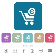 Checkout with Euro cart white flat icons on color rounded square backgrounds. 6 bonus icons included - Checkout with Euro cart flat icons on color rounded square backgrounds