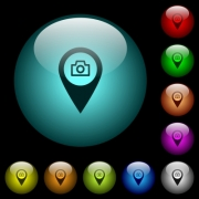 GPS map location snapshot icons in color illuminated spherical glass buttons on black background. Can be used to black or dark templates - GPS map location snapshot icons in color illuminated glass buttons