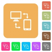 Connecting mobile to desktop flat icons on rounded square vivid color backgrounds. - Connecting mobile to desktop rounded square flat icons
