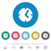 Clock flat white icons on round color backgrounds. 6 bonus icons included. - Clock flat round icons