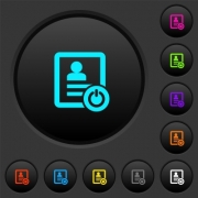 Exit from contact list dark push buttons with vivid color icons on dark grey background - Exit from contact list dark push buttons with color icons