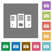 File server flat icons on simple color square backgrounds - File server square flat icons
