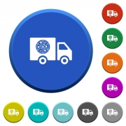 Pizza delivery truck round color beveled buttons with smooth surfaces and flat white icons - Pizza delivery truck beveled buttons