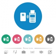 Contactless payment flat white icons on round color backgrounds. 6 bonus icons included.