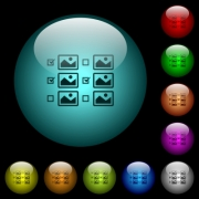Multiple image selection with checkboxes icons in color illuminated spherical glass buttons on black background. Can be used to black or dark templates - Multiple image selection with checkboxes icons in color illuminated glass buttons