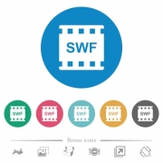 SWF movie format flat white icons on round color backgrounds. 6 bonus icons included. - SWF movie format flat round icons