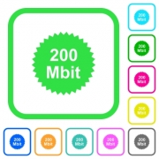 200 mbit guarantee sticker vivid colored flat icons in curved borders on white background - 200 mbit guarantee sticker vivid colored flat icons