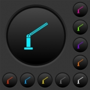 Opened barrier dark push buttons with vivid color icons on dark grey background - Opened barrier dark push buttons with color icons