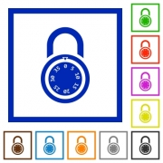 Locked round combination lock flat color icons in square frames on white background - Locked round combination lock flat framed icons