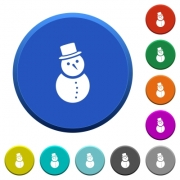 Snowman round color beveled buttons with smooth surfaces and flat white icons - Snowman beveled buttons