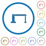 Closed barrier flat color vector icons with shadows in round outlines on white background - Closed barrier icons with shadows and outlines