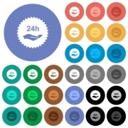 24h service sticker multi colored flat icons on round backgrounds. Included white, light and dark icon variations for hover and active status effects, and bonus shades. - 24h service sticker round flat multi colored icons
