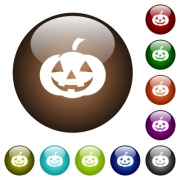Halloween pumpkin white icons on round color glass buttons - Halloween pumpkin color glass buttons