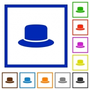 Silk hat flat color icons in square frames on white background - Silk hat flat framed icons