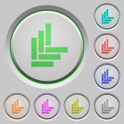 Parquet pattern color icons on sunk push buttons - Parquet pattern push buttons