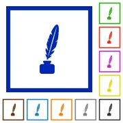 Feather in ink bottle flat color icons in square frames on white background - Feather in ink bottle flat framed icons