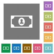 Single banknote  with portrait flat icons on simple color square backgrounds - Single banknote  with portrait square flat icons