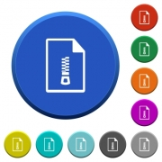 Compressed document round color beveled buttons with smooth surfaces and flat white icons - Compressed document beveled buttons