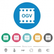 OGV movie format flat white icons on round color backgrounds. 6 bonus icons included. - OGV movie format flat round icons