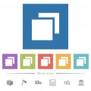Overlapping elements flat white icons in square backgrounds. 6 bonus icons included. - Overlapping elements flat white icons in square backgrounds