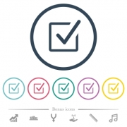 Checked box flat color icons in round outlines. 6 bonus icons included. - Checked box flat color icons in round outlines