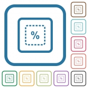 Scale object by percent simple icons in color rounded square frames on white background - Scale object by percent simple icons