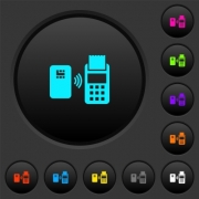 Contactless payment dark push buttons with vivid color icons on dark grey background - Contactless payment dark push buttons with color icons