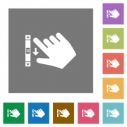Right handed scroll down gesture flat icons on simple color square backgrounds - Right handed scroll down gesture square flat icons