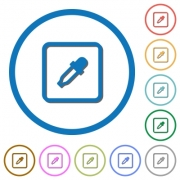 Get object color flat color vector icons with shadows in round outlines on white background - Get object color icons with shadows and outlines