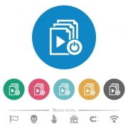 Exit from playlist flat white icons on round color backgrounds. 6 bonus icons included. - Exit from playlist flat round icons