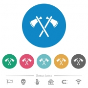 Two tomahawks flat white icons on round color backgrounds. 6 bonus icons included. - Two tomahawks flat round icons
