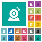 Wireless camera multi colored flat icons on plain square backgrounds. Included white and darker icon variations for hover or active effects. - Wireless camera square flat multi colored icons