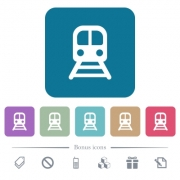 Train white flat icons on color rounded square backgrounds. 6 bonus icons included - Train flat icons on color rounded square backgrounds