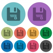 Zipped file darker flat icons on color round background - Zipped file color darker flat icons