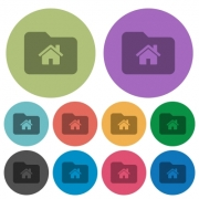 Home folder darker flat icons on color round background - Home folder color darker flat icons