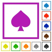 Spades card symbol flat color icons in square frames on white background - Spades card symbol flat framed icons