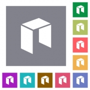 Neo digital cryptocurrency flat icons on simple color square backgrounds - Neo digital cryptocurrency square flat icons