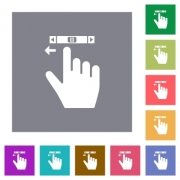 right handed scroll left gesture flat icons on simple color square backgrounds - right handed scroll left gesture square flat icons