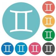 Gemini zodiac symbol flat white icons on round color backgrounds - Gemini zodiac symbol flat round icons